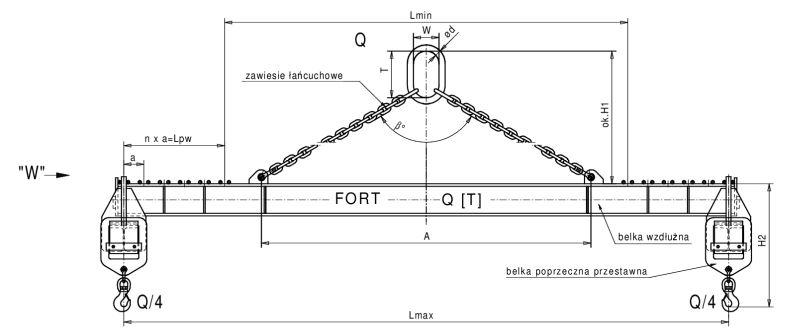trawersa łańcuchowa typu h o zmiennej rozpiętości w dwu kierunkach