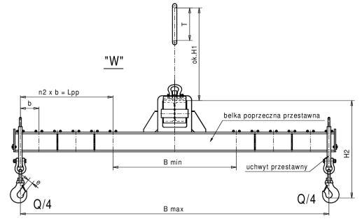 trawersa typu H łańcuchowa o zmiennej rozpiętości w dwu kierunkach